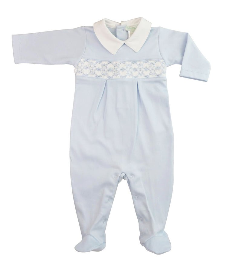 Baby Boy's Blue hand smocked Footie - Little Threads Inc. Children's Clothing