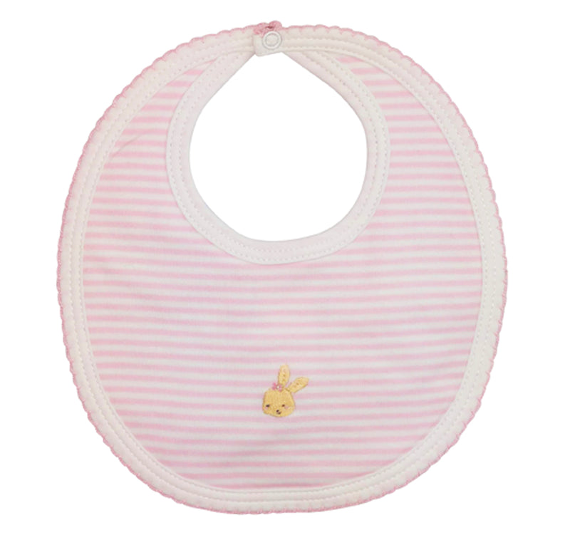 Pink Bunny Pima Cotton Baby Girl's Bib - Little Threads Inc. Children's Clothing