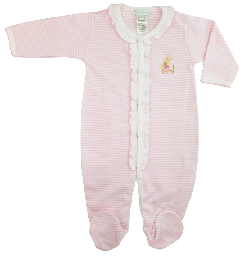 Pink Pima Cotton Baby Girls Bunny Footie - Little Threads Inc. Children's Clothing