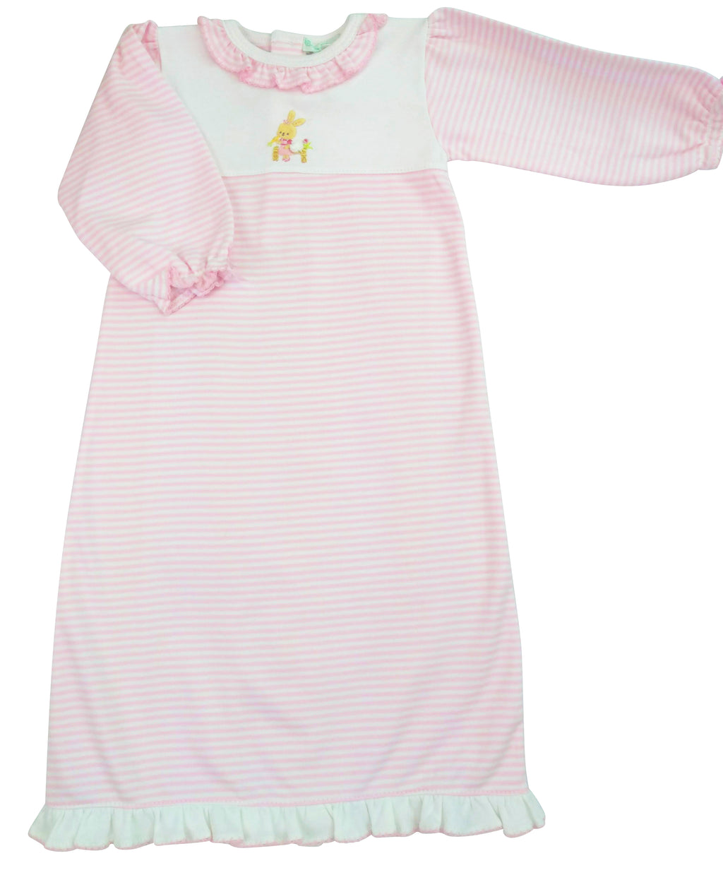 Bunny Pink Stripe Baby Girls Daygown - Little Threads Inc. Children's Clothing