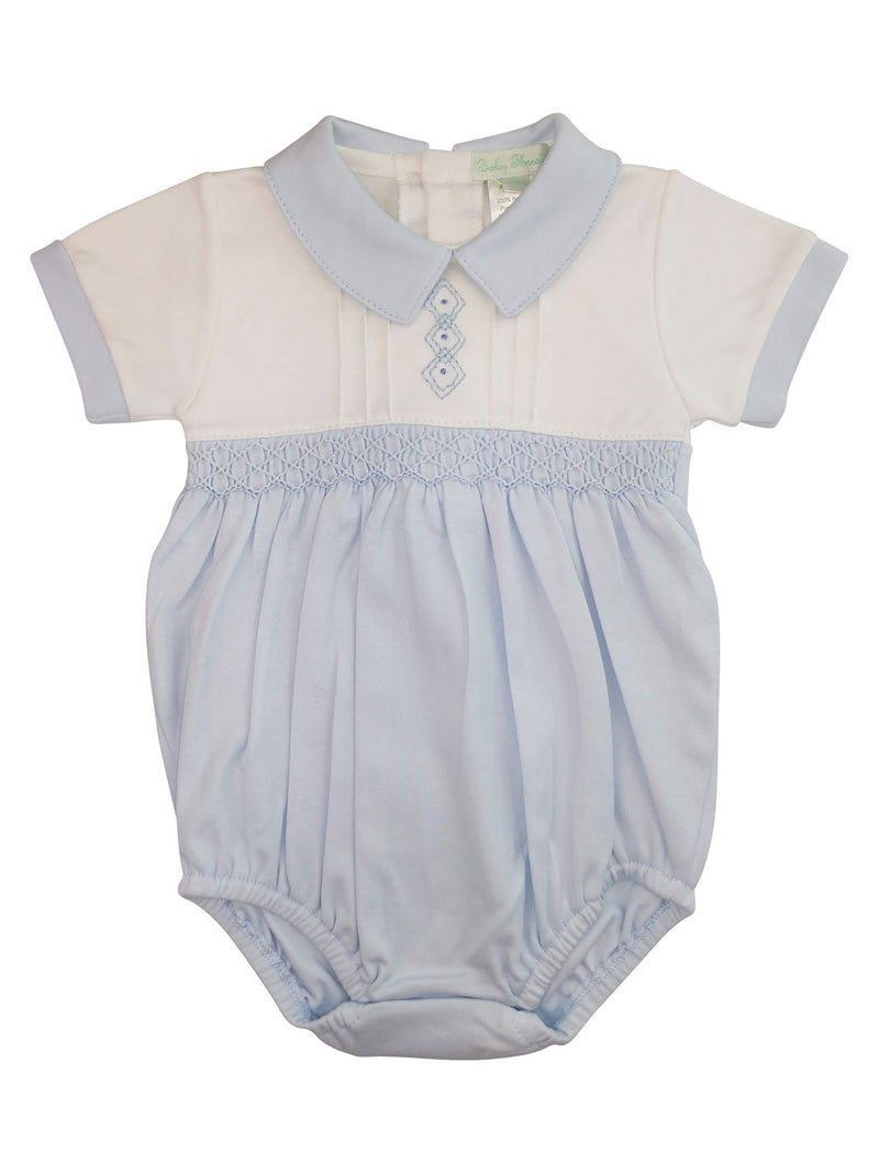 Baby Boy's Blue Diamond Smocked Onesie - Little Threads Inc. Children's Clothing