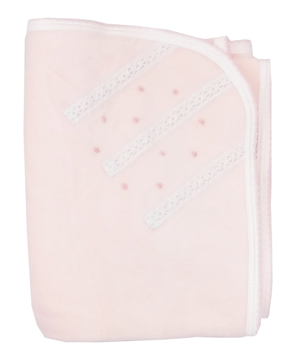 Pink Velour Lace and Flowers Blanket - Little Threads Inc. Children's Clothing