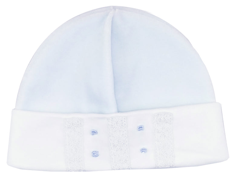 Baby Boy's Blue Velour Lace Hat - Little Threads Inc. Children's Clothing