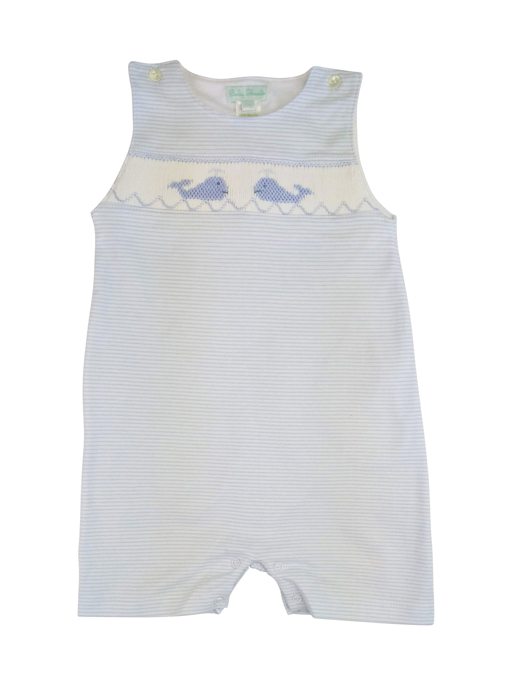 Baby Boy's Blue Whale Hand Smocked Overall - Little Threads Inc. Children's Clothing