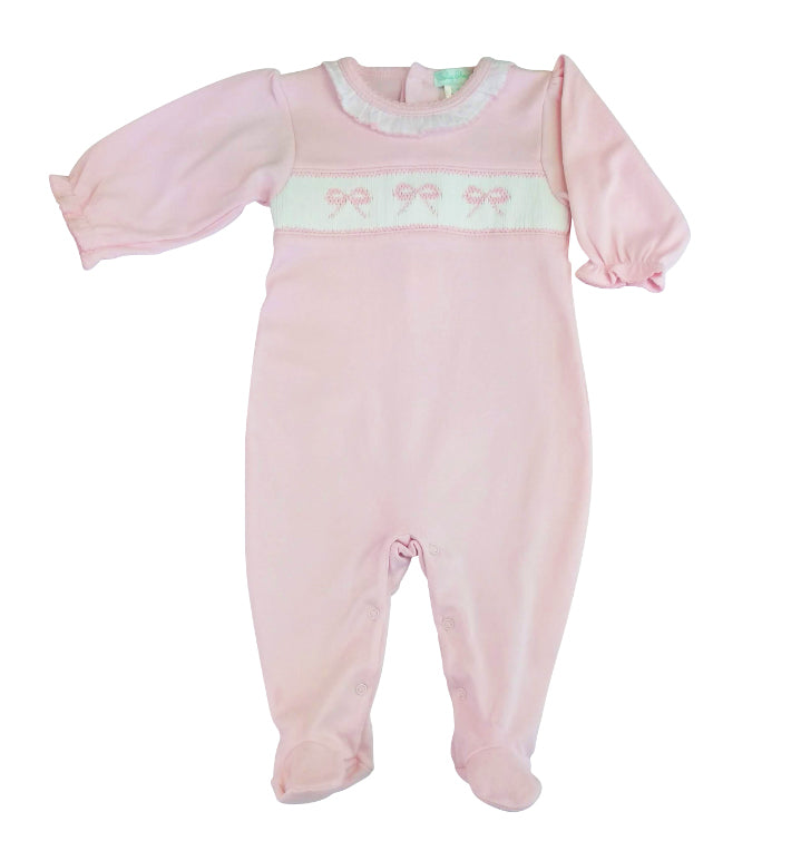 Baby Girls Pink Smocked Bows Footie - Little Threads Inc. Children's Clothing