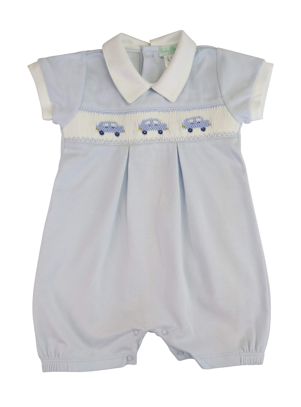 Baby Boy's Blue Cars Hand Smocked Romper - Little Threads Inc. Children's Clothing