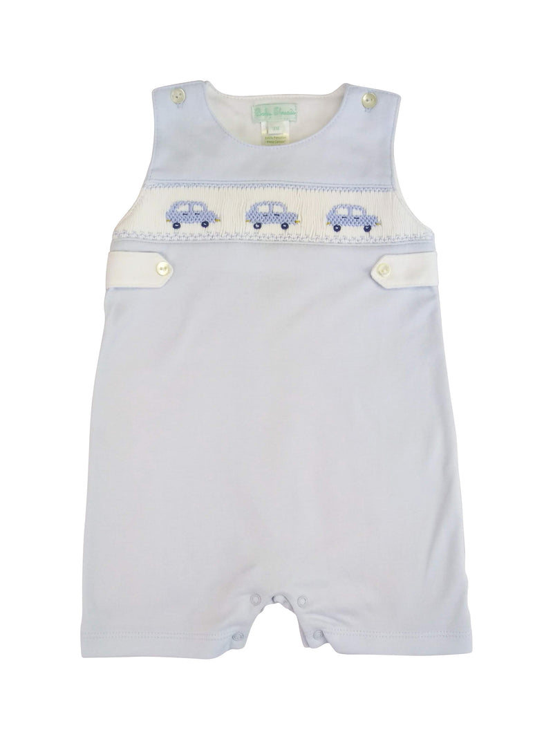 Baby Boy's Blue Cars Hand Smocked Overall - Little Threads Inc. Children's Clothing