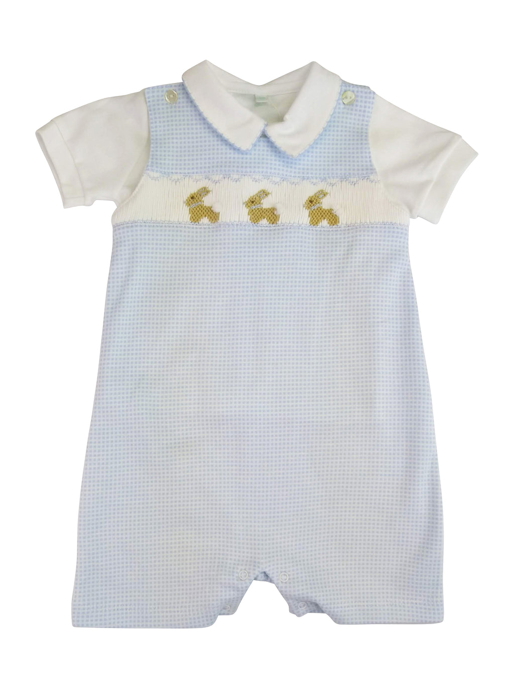 Baby Boy's Blue Bunny Checkered Romper - Little Threads Inc. Children's Clothing
