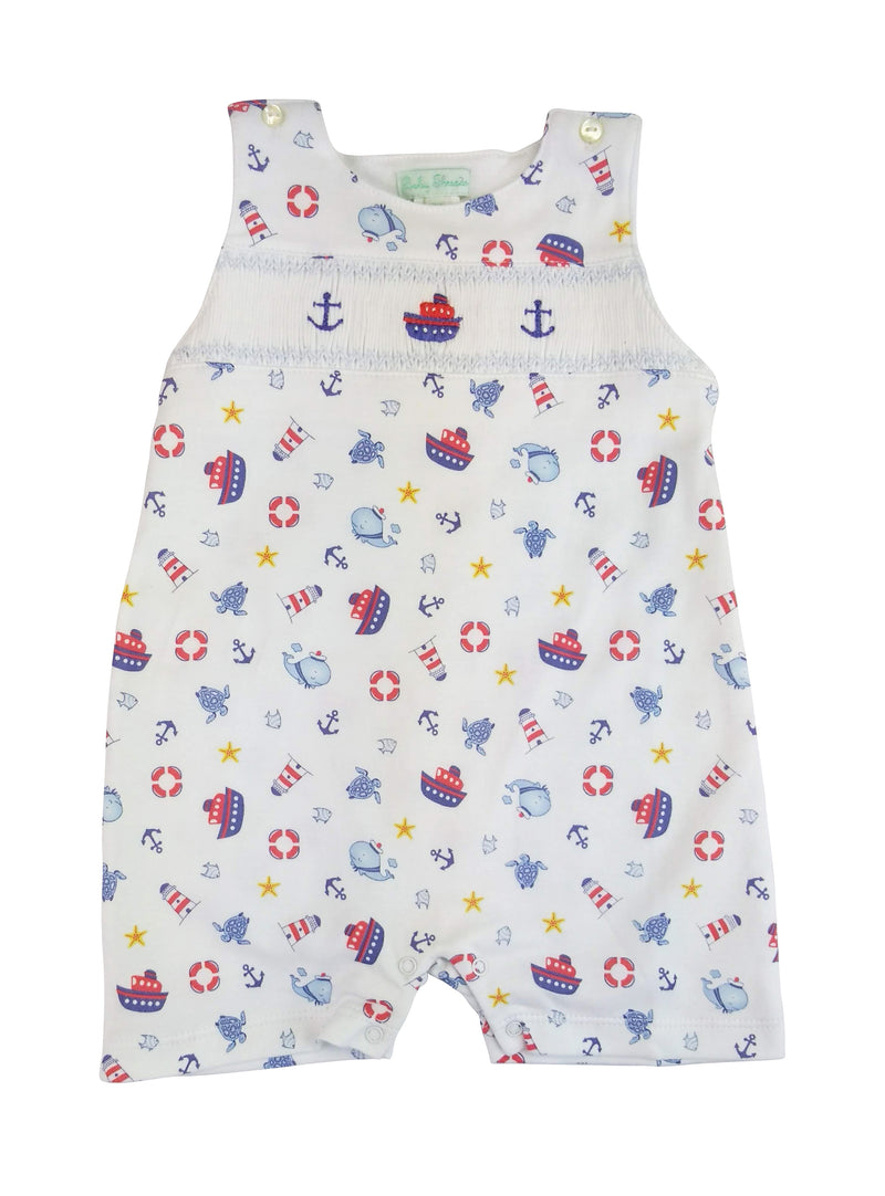 Baby Boy's Nautical Smocked Romper - Little Threads Inc. Children's Clothing