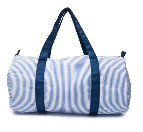 Navy Seersucker Duffle bag for monograming - Little Threads Inc. Children's Clothing