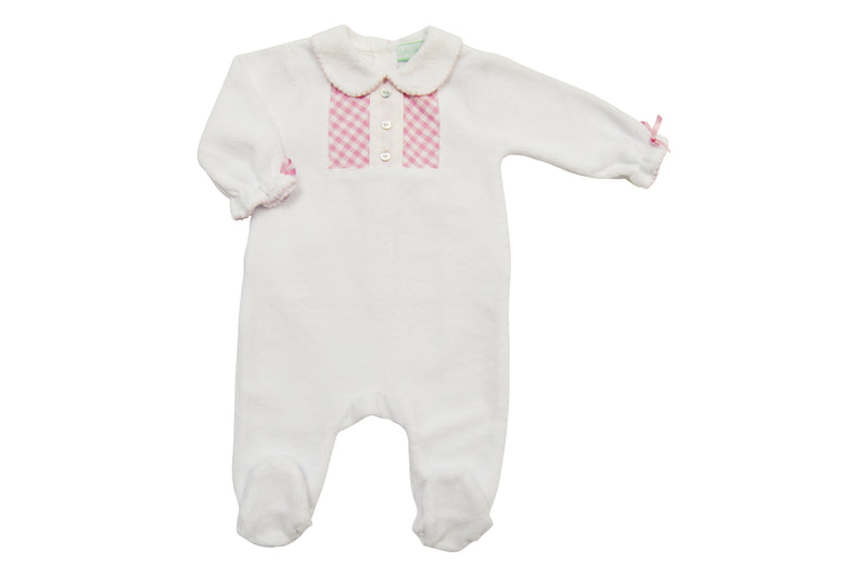 White Velour with Pink Checkered Footie - Little Threads Inc. Children's Clothing