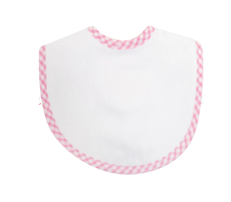 Pink Checks Trim  Burp Cloth Bib - Little Threads Inc. Children's Clothing
