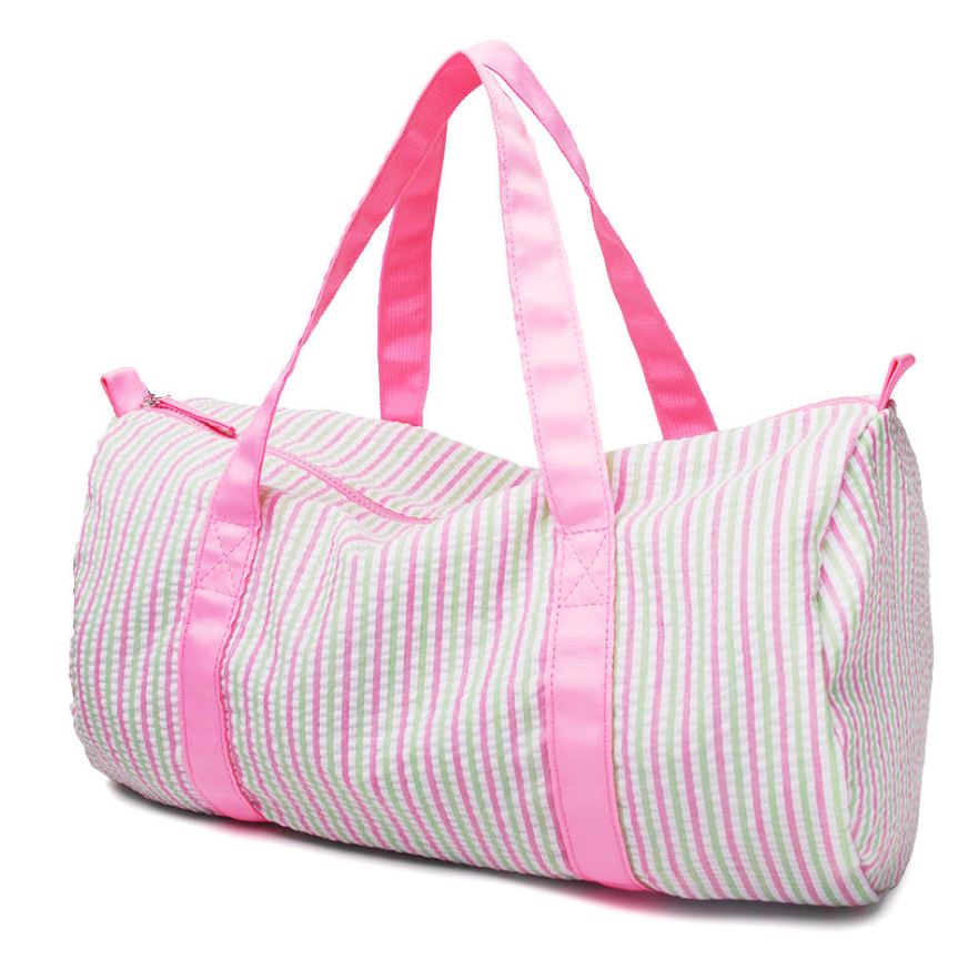 Pink  Multi color stripe Seersucker Duffle bag for monograming - Little Threads Inc. Children's Clothing