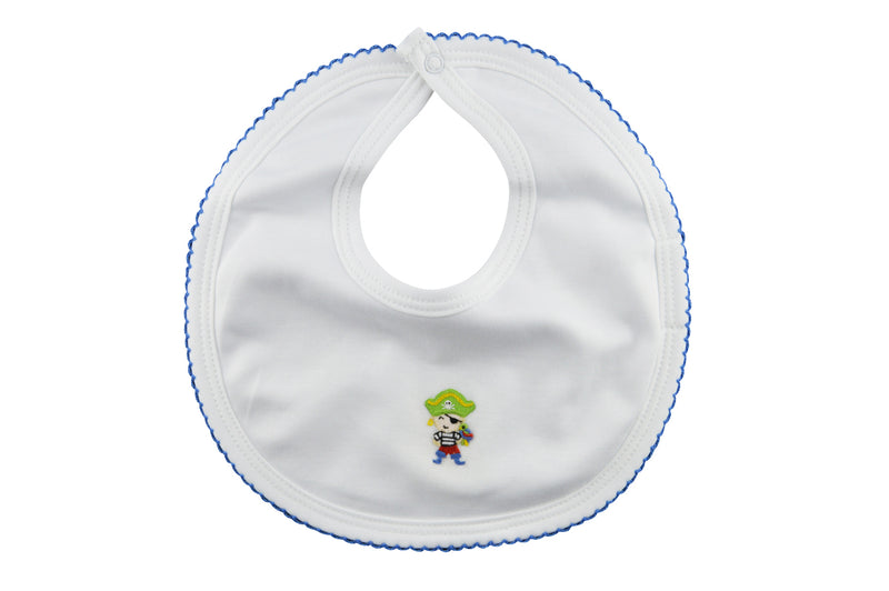Baby Boy's White Pirate Bib - Little Threads Inc. Children's Clothing