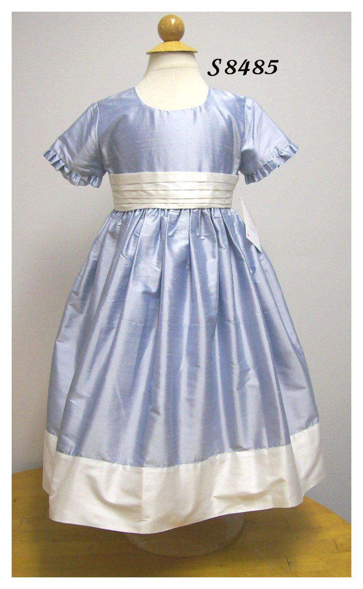 Girls Light Blue Silk Dress - Little Threads Inc. Children's Clothing
