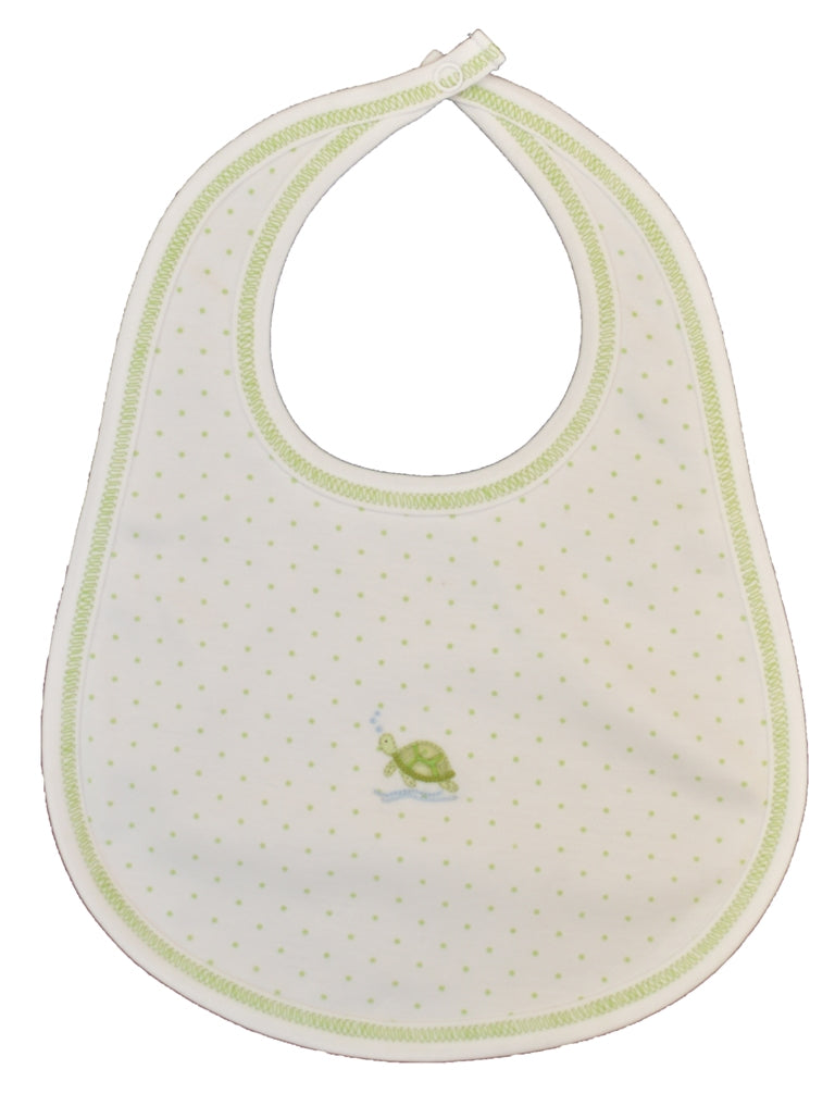 Green Polka Dot Turtle Boy Bib - Little Threads Inc. Children's Clothing
