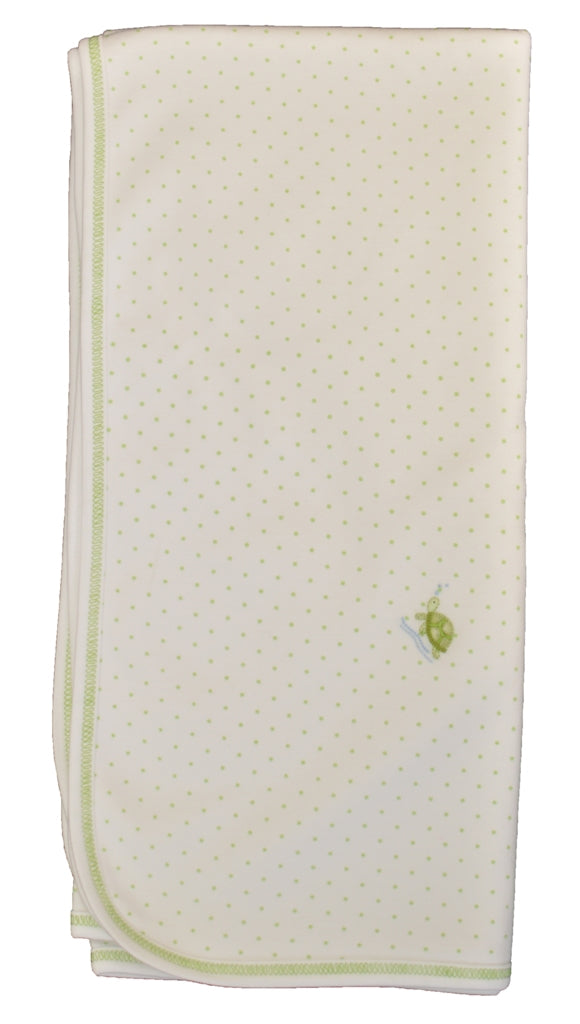Green Polka Dot Turtle Boy Blanket - Little Threads Inc. Children's Clothing