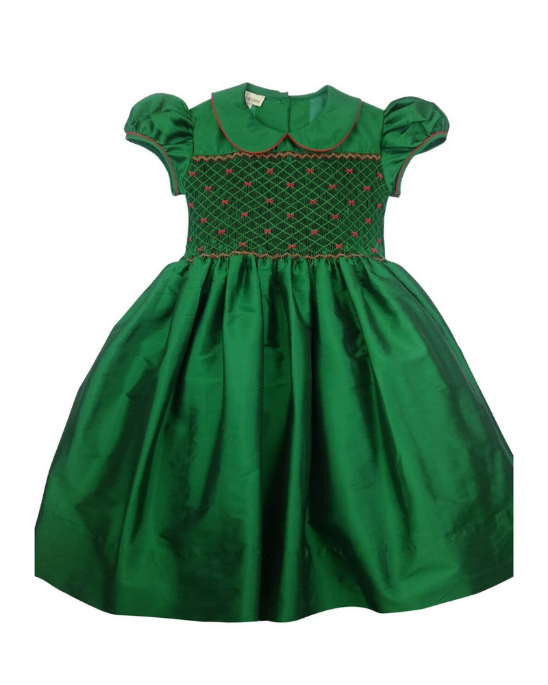 Green Silk Hand Smocked Dress - Little Threads Inc. Children's Clothing