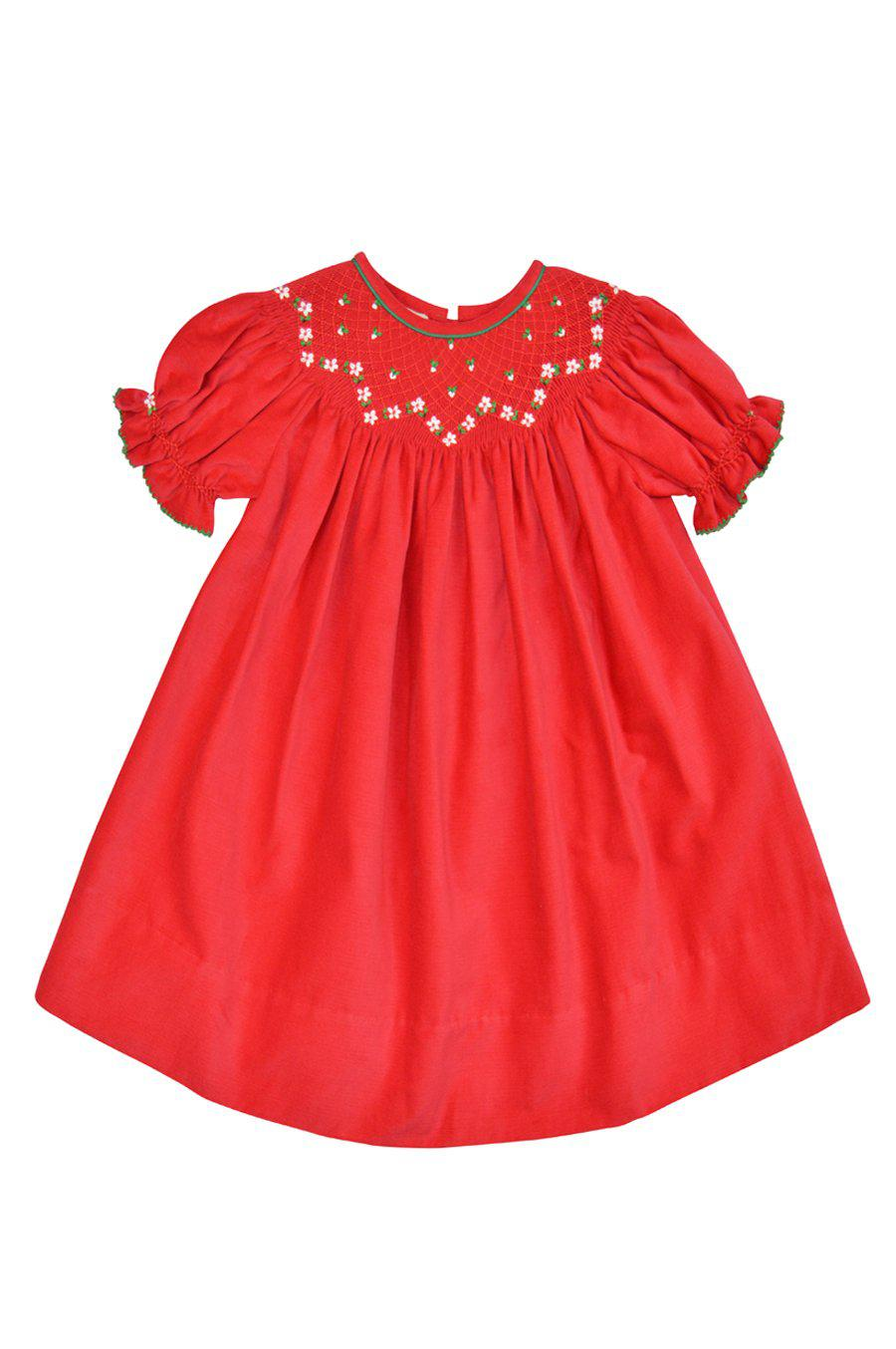 Heather Red Cotton Smocked Bishop dress - Little Threads Inc. Children's Clothing