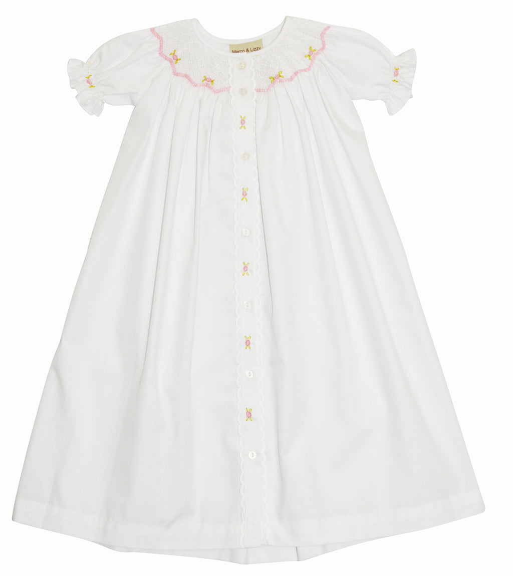 White Smocked Daygown with Roses - Little Threads Inc. Children's Clothing