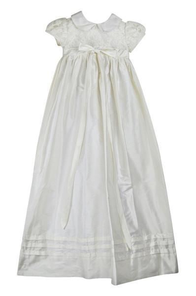 Short Sleeve Silk Christening Gown - Little Threads Inc. Children's Clothing