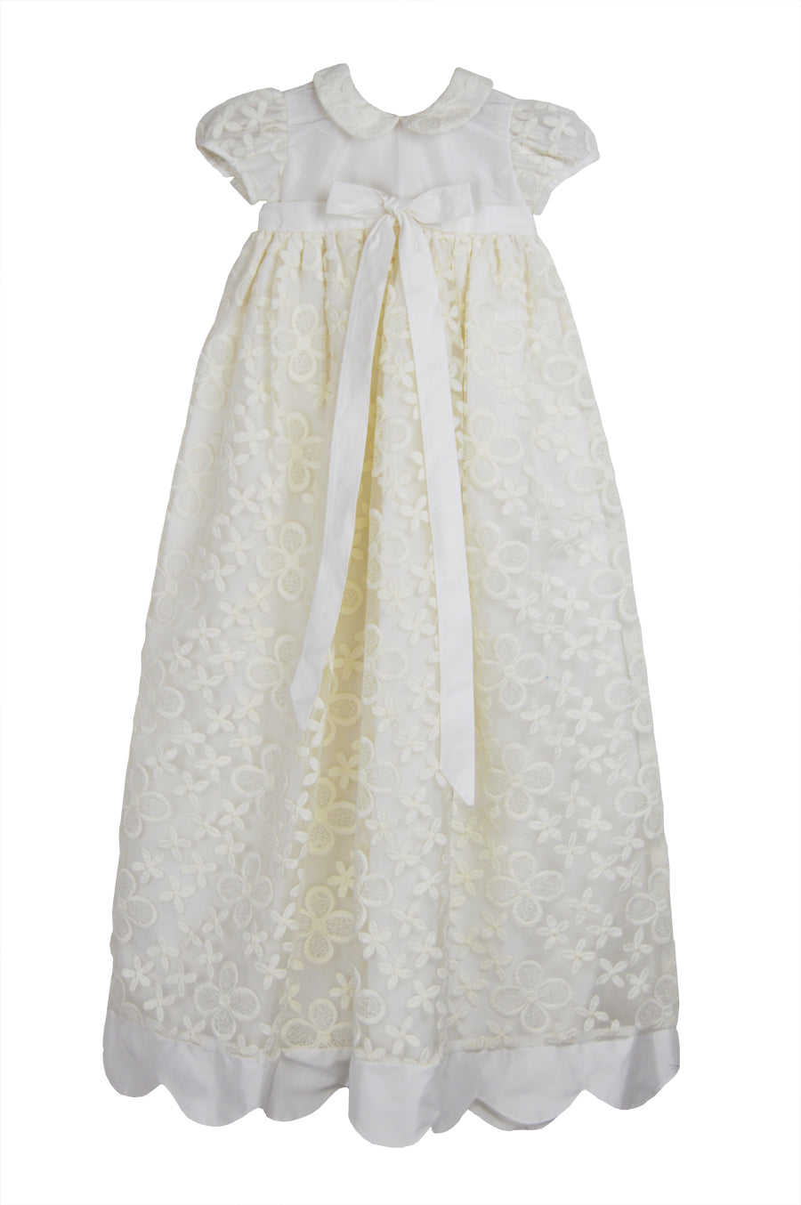 Elegant Silk Taffeta  baby girls Christening gown - Little Threads Inc. Children's Clothing