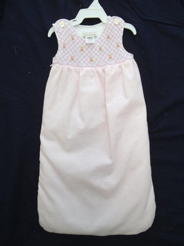 Pink Smocked Girl's Bunting