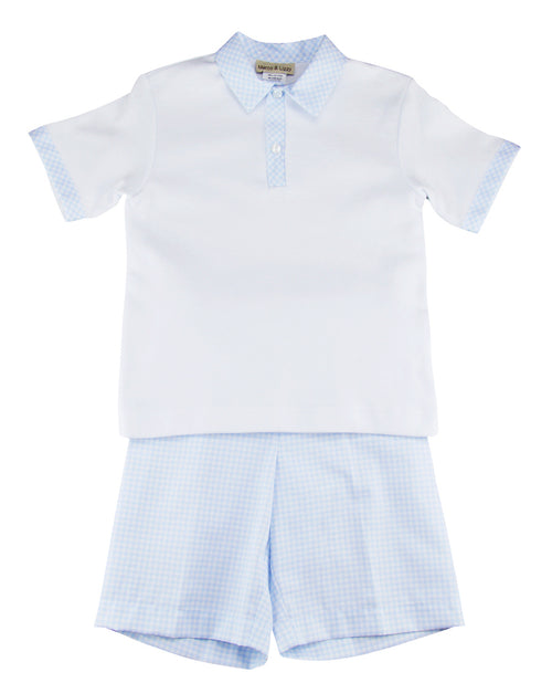 Boy's pique knit shirt and pique checks short