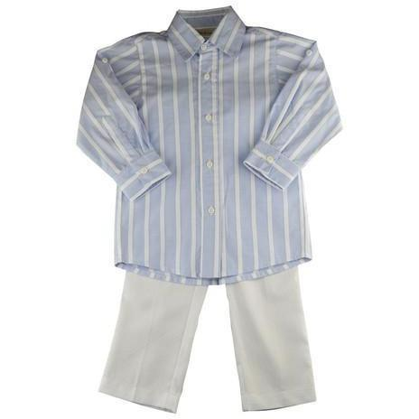Caroline Blue Striped Shirt and Pique Pant Set - Little Threads Inc. Children's Clothing