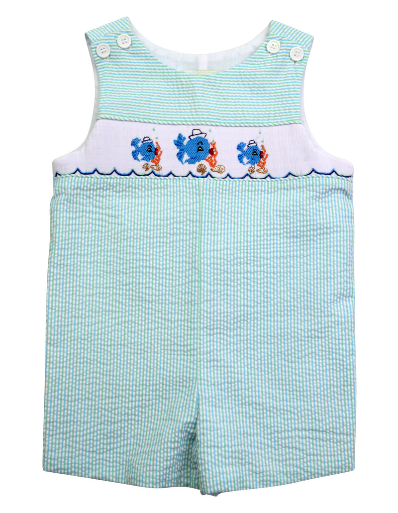 Fish hand Smocked  Baby boy's Overall - Little Threads Inc. Children's Clothing