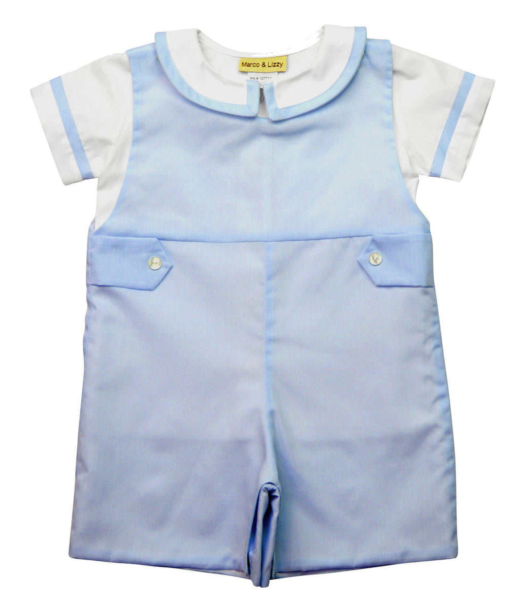 Marco & Lizzy Blue Overall Baby Set - Little Threads Inc. Children's Clothing