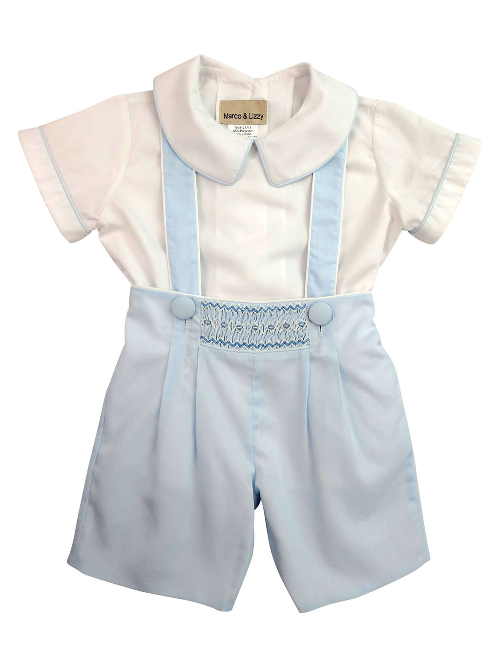Blue hand smocked boy's short set - Little Threads Inc. Children's Clothing