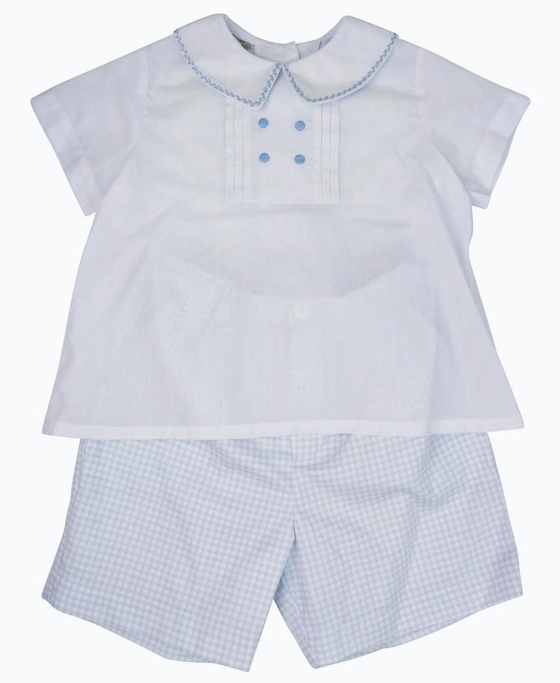 White and blue boy's short set