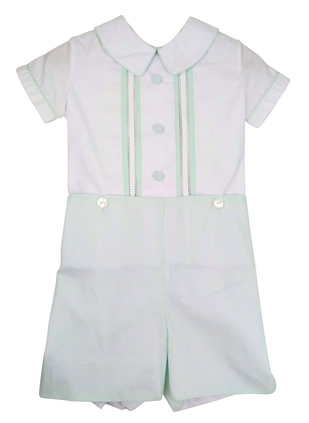 Mint button on fagotting stitched shirt - Little Threads Inc. Children's Clothing