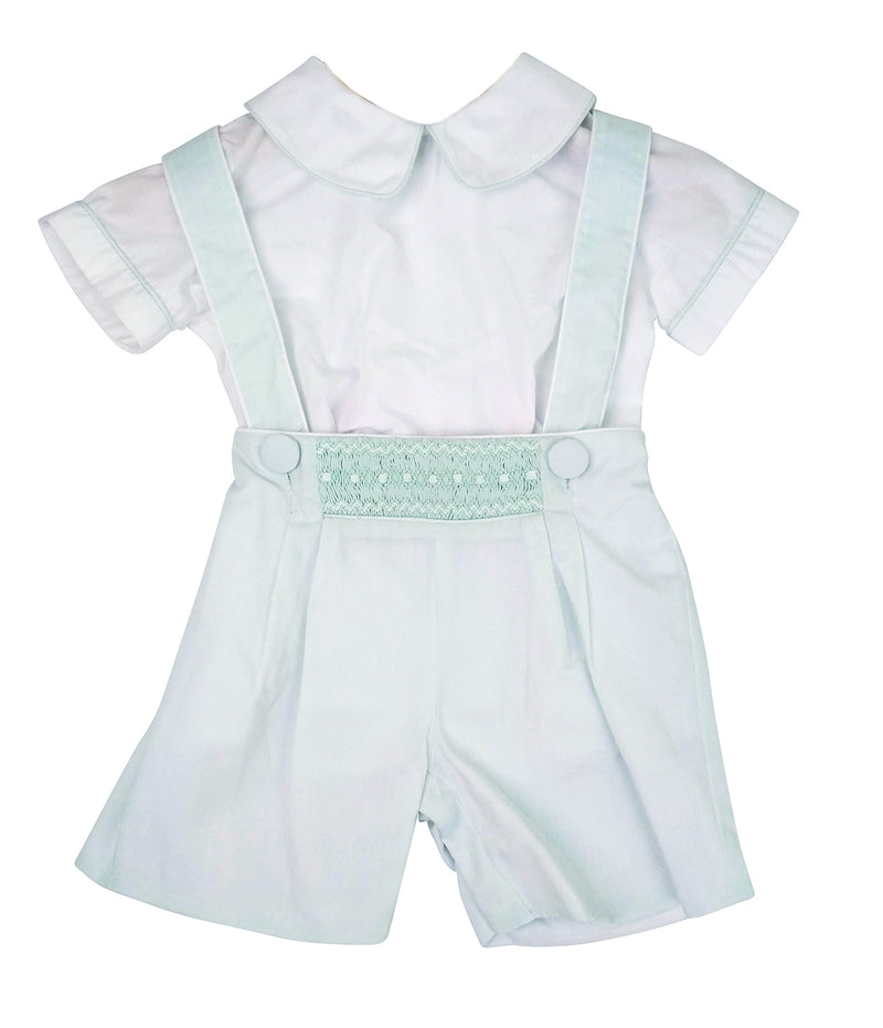 Mint hand smocked  boy's short set with straps. - Little Threads Inc. Children's Clothing