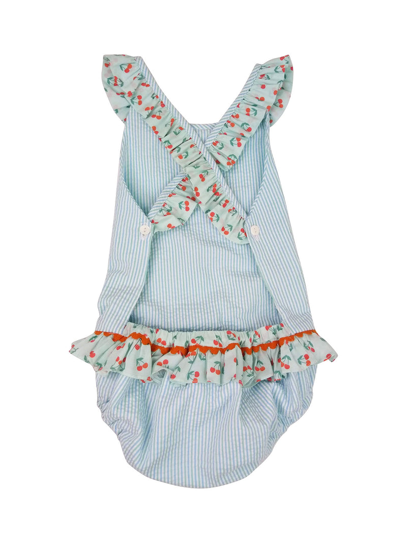 Cherries girl's Seersucker bathing suit - Little Threads Inc. Children's Clothing