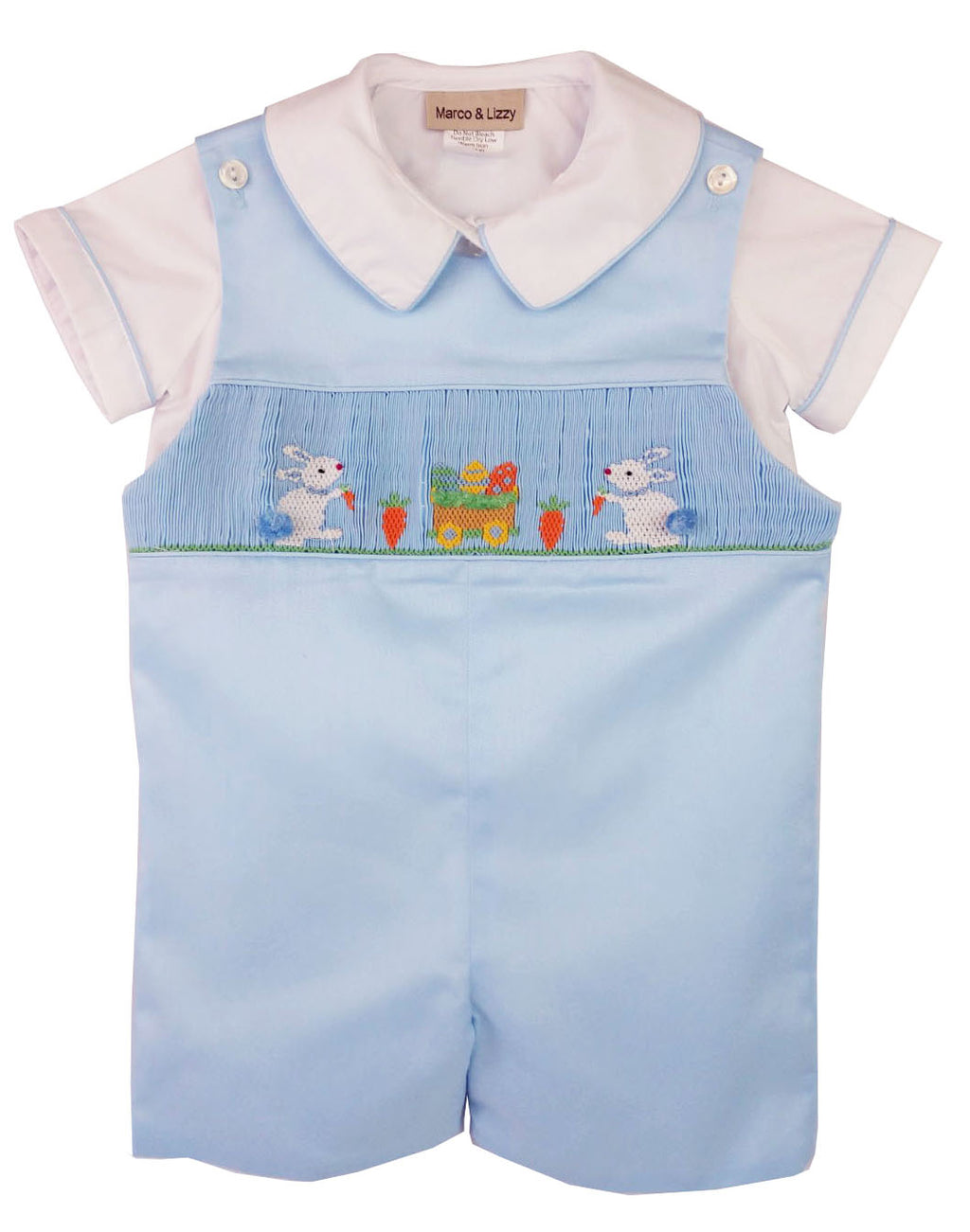 Easter Bunnies hand smocked boy's overall set
