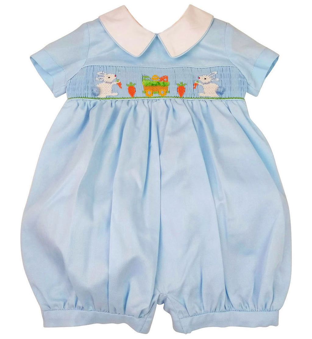 Easter Bunnies Hand Smocked Boy's Romper - Little Threads Inc. Children's Clothing