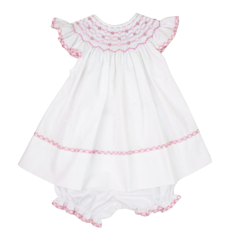 Riley White Hand Smocked bishop - Little Threads Inc. Children's Clothing