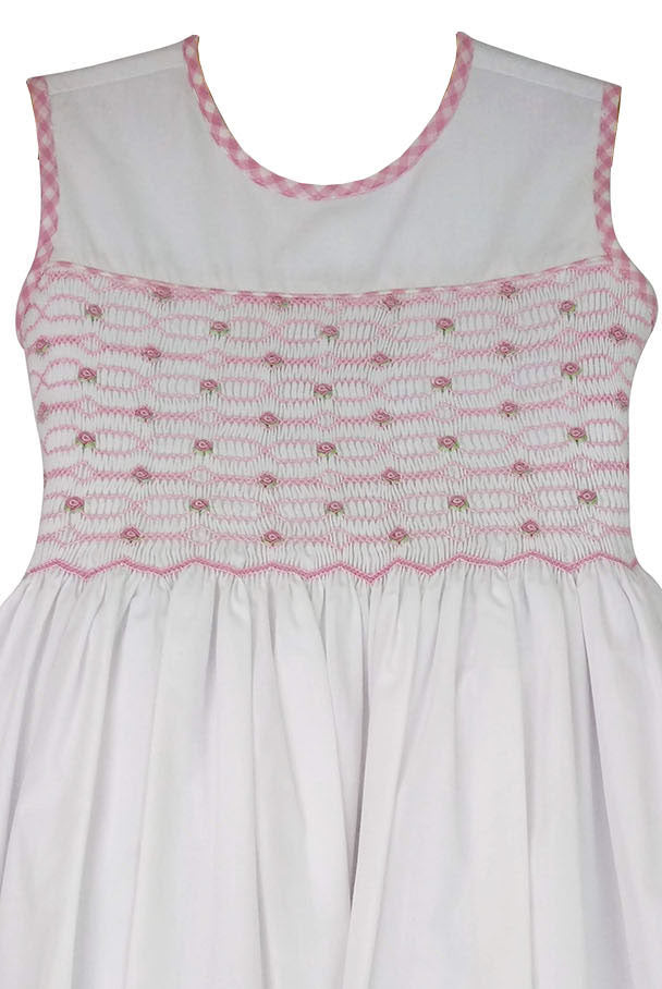 Riley white hand smocked girl's dress