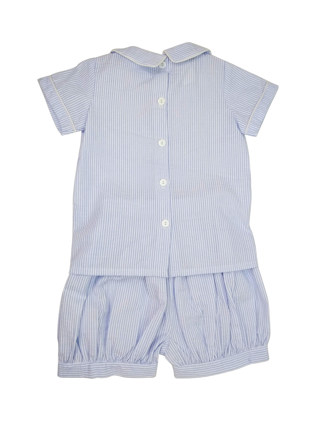 Blue Seersucker Boy's Short Set - Little Threads Inc. Children's Clothing