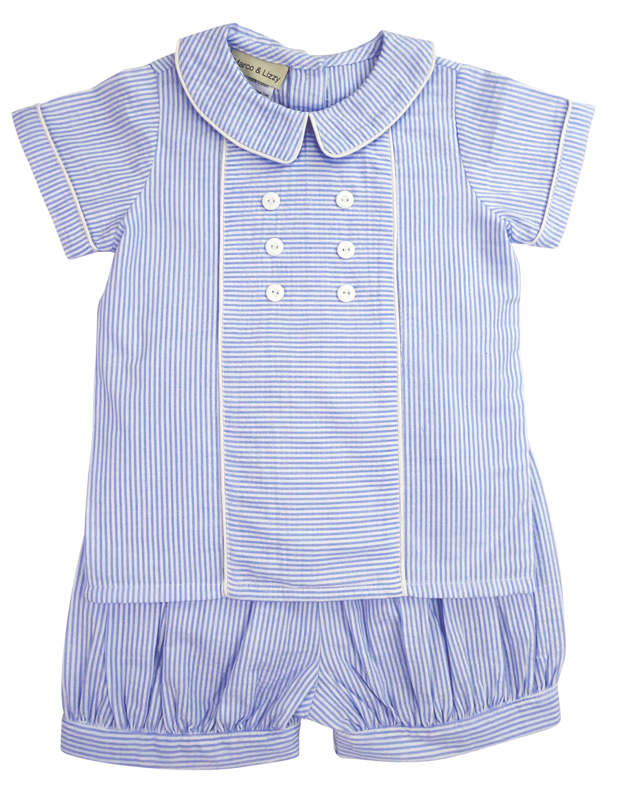 Blue Seersucker,  little boy's short set - Little Threads Inc. Children's Clothing