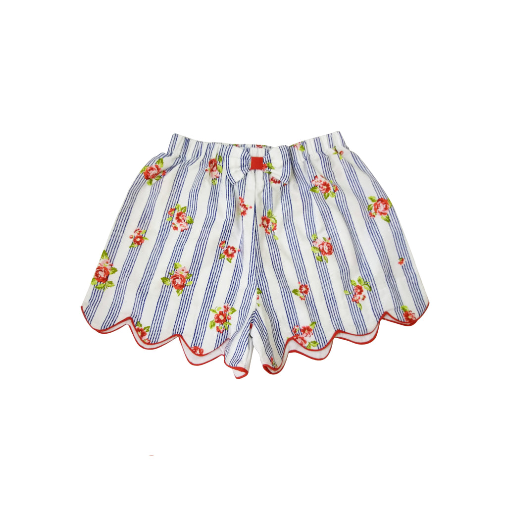 Blue Roses Scallops Girl's Shorts - Little Threads Inc. Children's Clothing