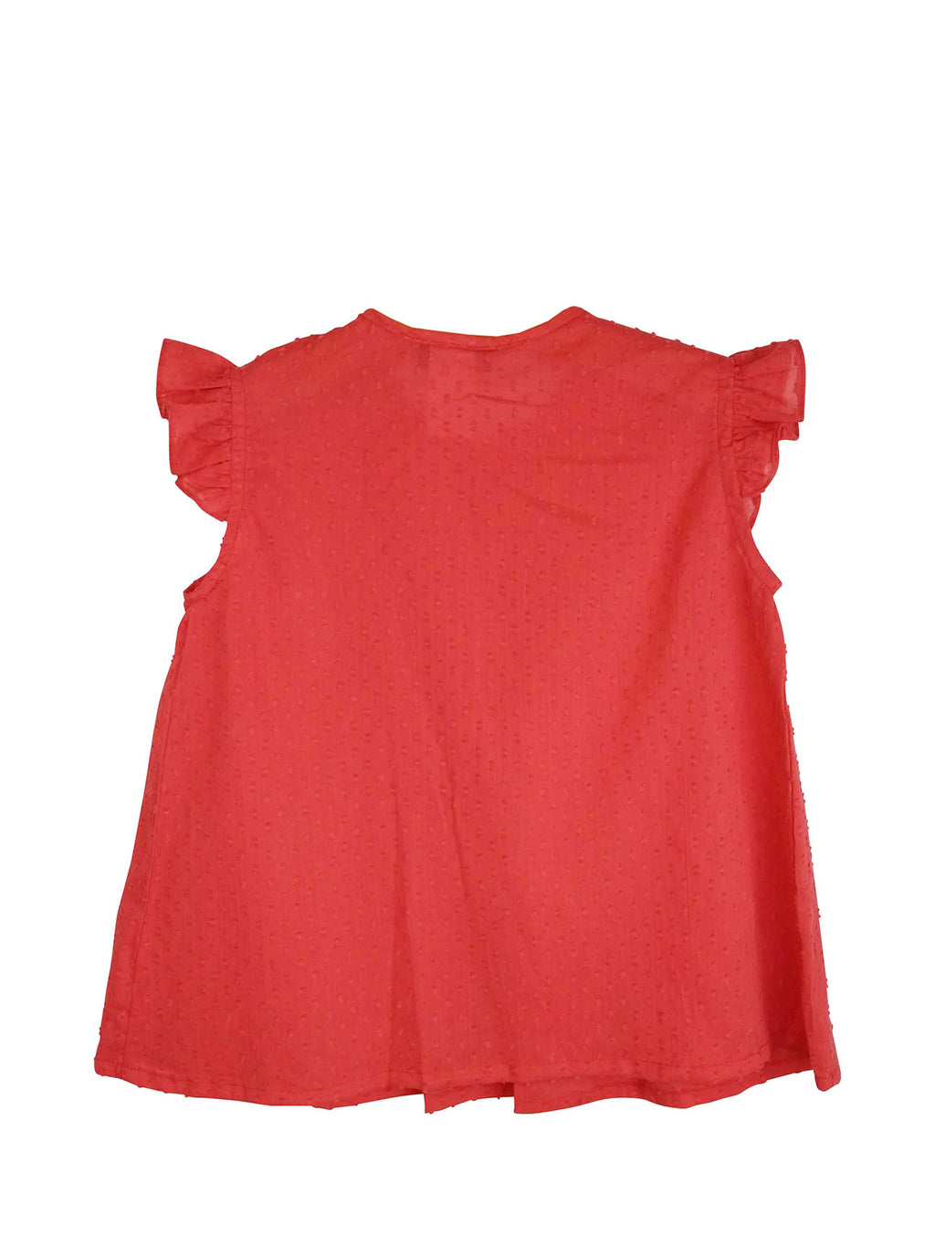 Red Plumeti Pleated Girl Blouse - Little Threads Inc. Children's Clothing