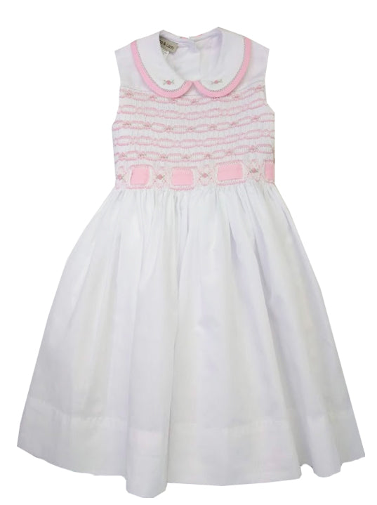 Ribbon and Roses  hand Girls Hand Smocked dress - Little Threads Inc. Children's Clothing