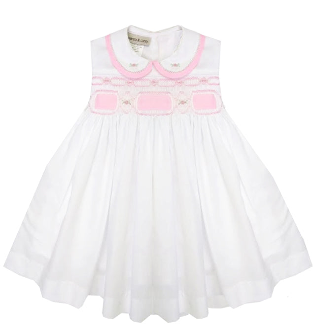 Ribbon and  Roses Hand Smocked Baby Girl Dress - Little Threads Inc. Children's Clothing