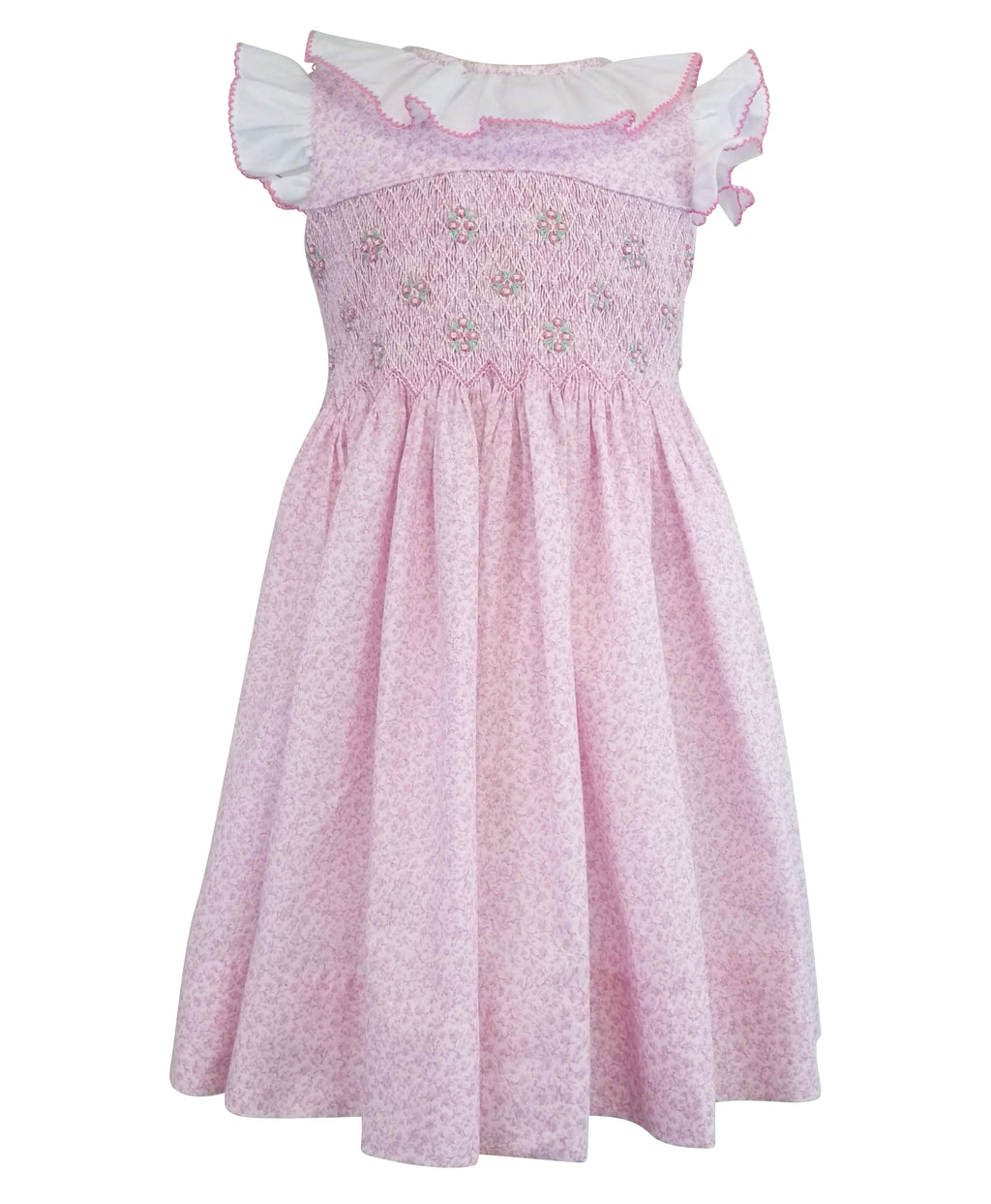 Pink Rosebud Ruffled Smocked Girl Dress - Little Threads Inc. Children's Clothing