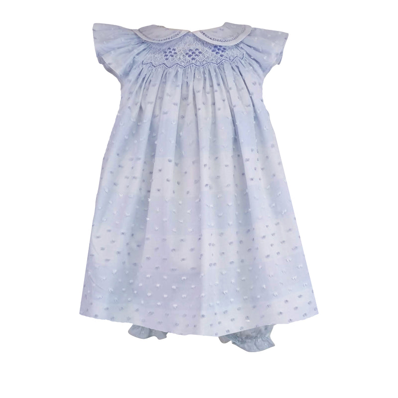 Cloud Plumeti Smocked Ruffled Dress - Little Threads Inc. Children's Clothing