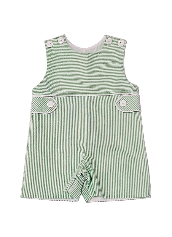 Palm Beach, seersucker boy's overall - Little Threads Inc. Children's Clothing