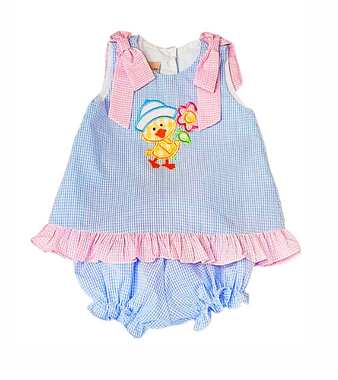 Ducky appliqued baby girl popover set - Little Threads Inc. Children's Clothing